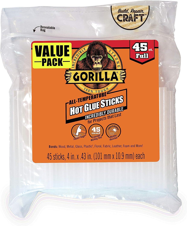 4 in 2 Pack Full Size Gorilla 3034518 Hot Glue Sticks 45 Count