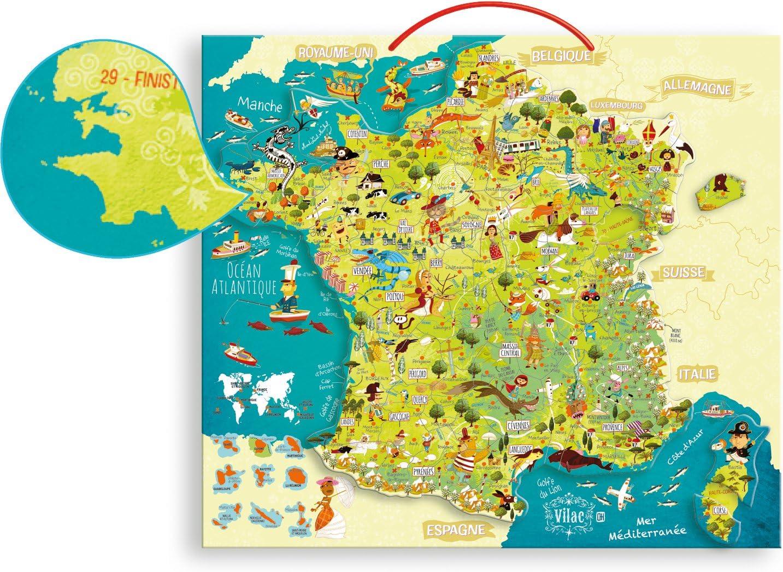 Amazon Com Vilac 50 X 44 5 X 1cm Map Of France Magnetic Puzzle