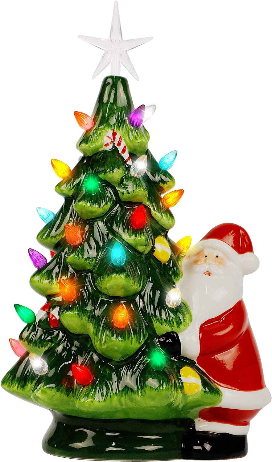 Lulu Home Ceramic Christmas Tree, 13 Inch LED Light Up Ceramic Tabletop Christmas Tree with 54 Multicolored Lights and a 5 Point Star Topper, Green Mini Vintage Lighted Ceramic Tree for Tabletop