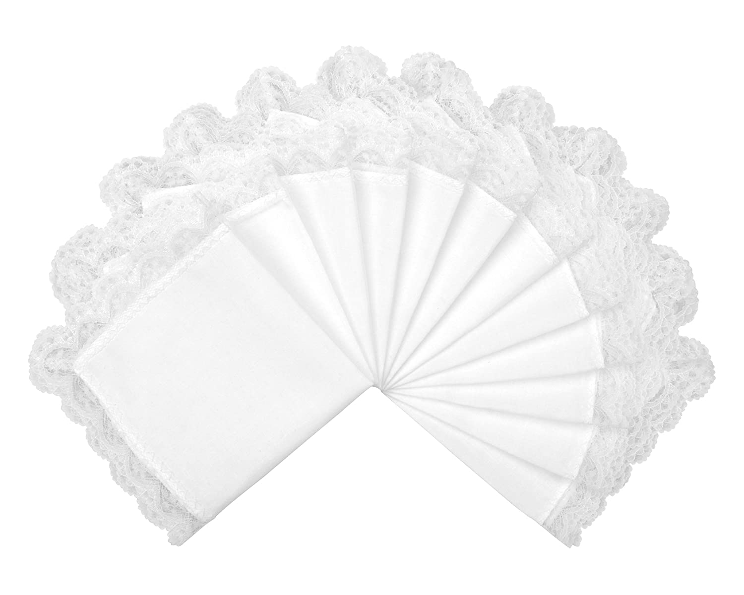 "Milesky Solid White Wedding Cotton Handkerchiefs with Lace Edges Square 10 x 10"" (Pack of 12)"