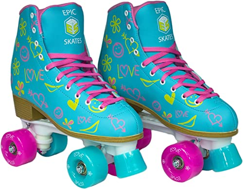 Epic Splash High-Top Indoor Outdoor Quad Roller Skates w 2 pr of Laces Pink Yellow – Women s