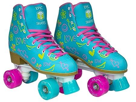 Epic Splash High-Top Indoor Outdoor Quad Roller Skates w 2 pr of Laces Pink Yellow – Women s
