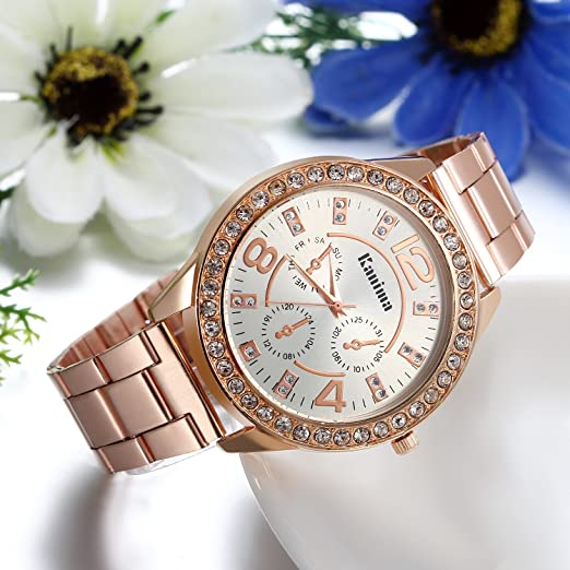 Amazon.com: JewelryWe Unisex Fashion Womens Mens Bling Rhinestone Accented Analog Stainless Steel Watch, Rose Gold: Watches