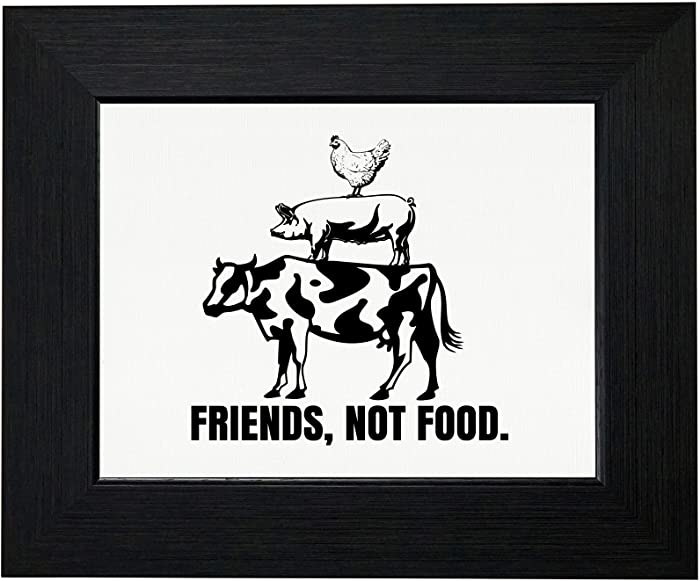 Royal Prints Friends, Not Food! Chicken, Pig, Cow Classic Framed Print Poster Wall or Desk Mount Options