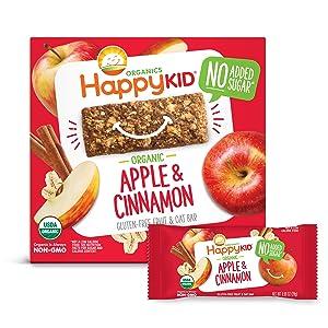 Happy Kid Organics Fruit & Oat Bar, Apple Cinnamon, 5 Count Bar (Pack of 6) packaging may vary