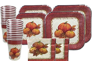 Thanksgiving Disposable Dinnerware Set For Your Holiday Party - Pumpkin Fall Harvest - Dinner Plates & Amazon.com: Thanksgiving Disposable Dinnerware Set For Your Holiday ...