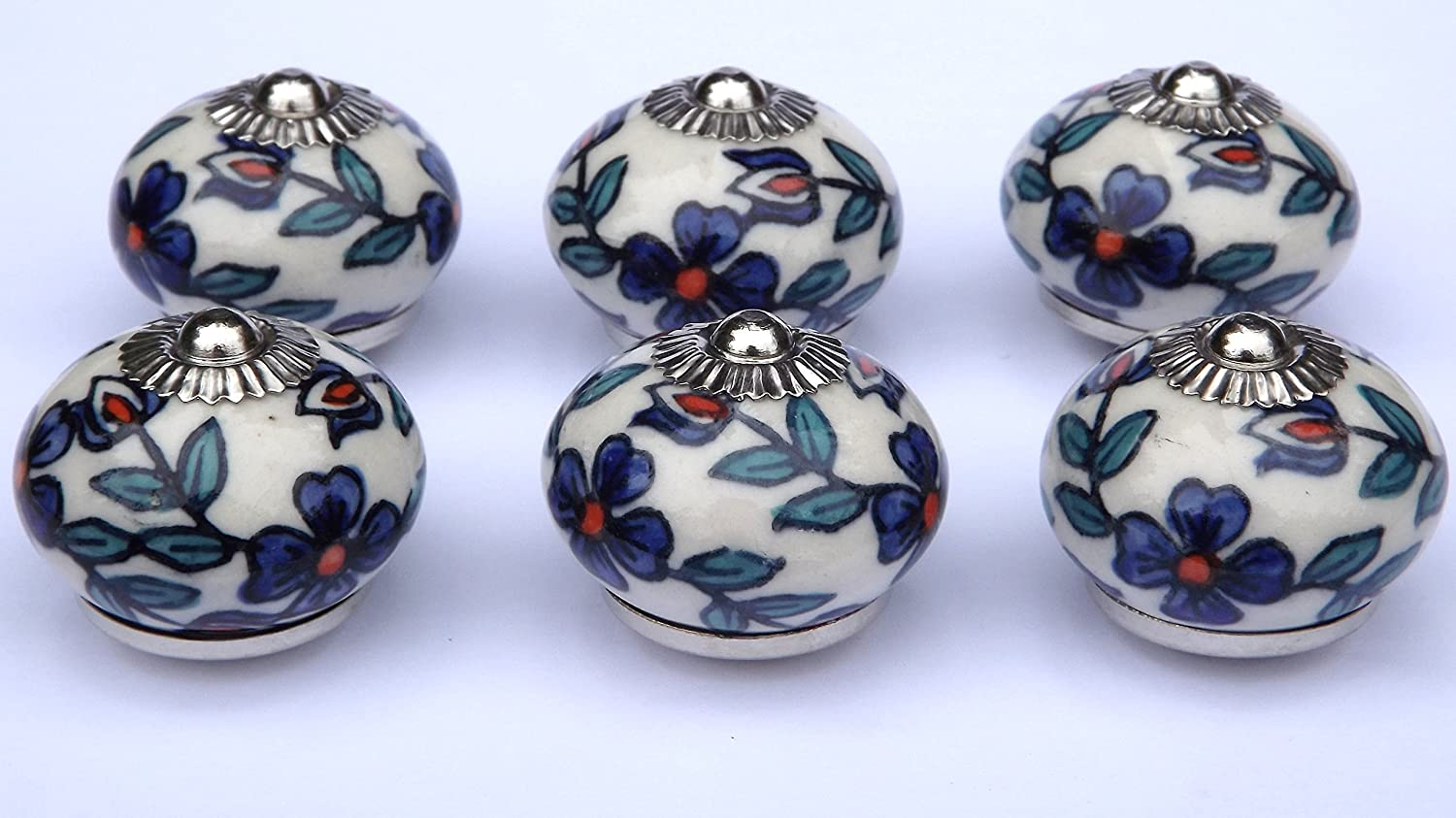 x 8 ceramic knobs Cream round with Slate Blue flowers and Teal leaves chrome