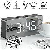 Lucky-Key Alarm Clock, LED Mirror Display Dimmer, Time, Alarm,Temperature USB Charging Port (Black)