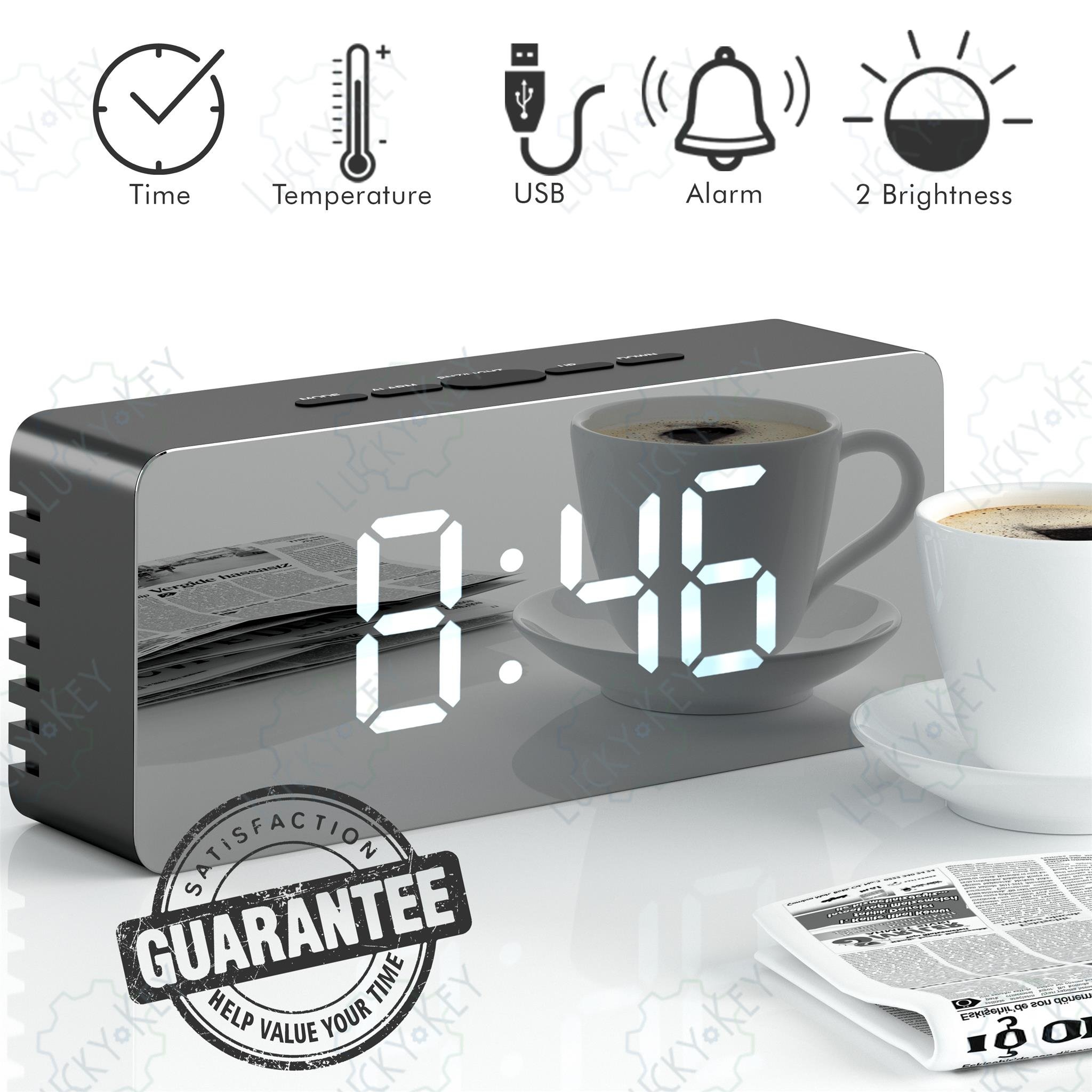 Alarm Clock, LED Mirror Display with Dimmer, Time, Alarm,Temperature with USB Charging Port by Lucky-Key