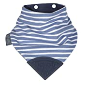 The Original Chewy Teething Bib : Super Absorbent Reversible Bandana Drool Bib For Teething Babies. Food-Grade Silicon Teethers are BPA-Free | Preppy Stripes Neckerchew by CHEEKY CHOMPERS