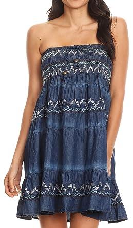 9ef93161c3 Sakkas 17187 - Eva Womens Denim Strapless Tube Top Smock Short Sleeveless  Dress Chambray - Chambray