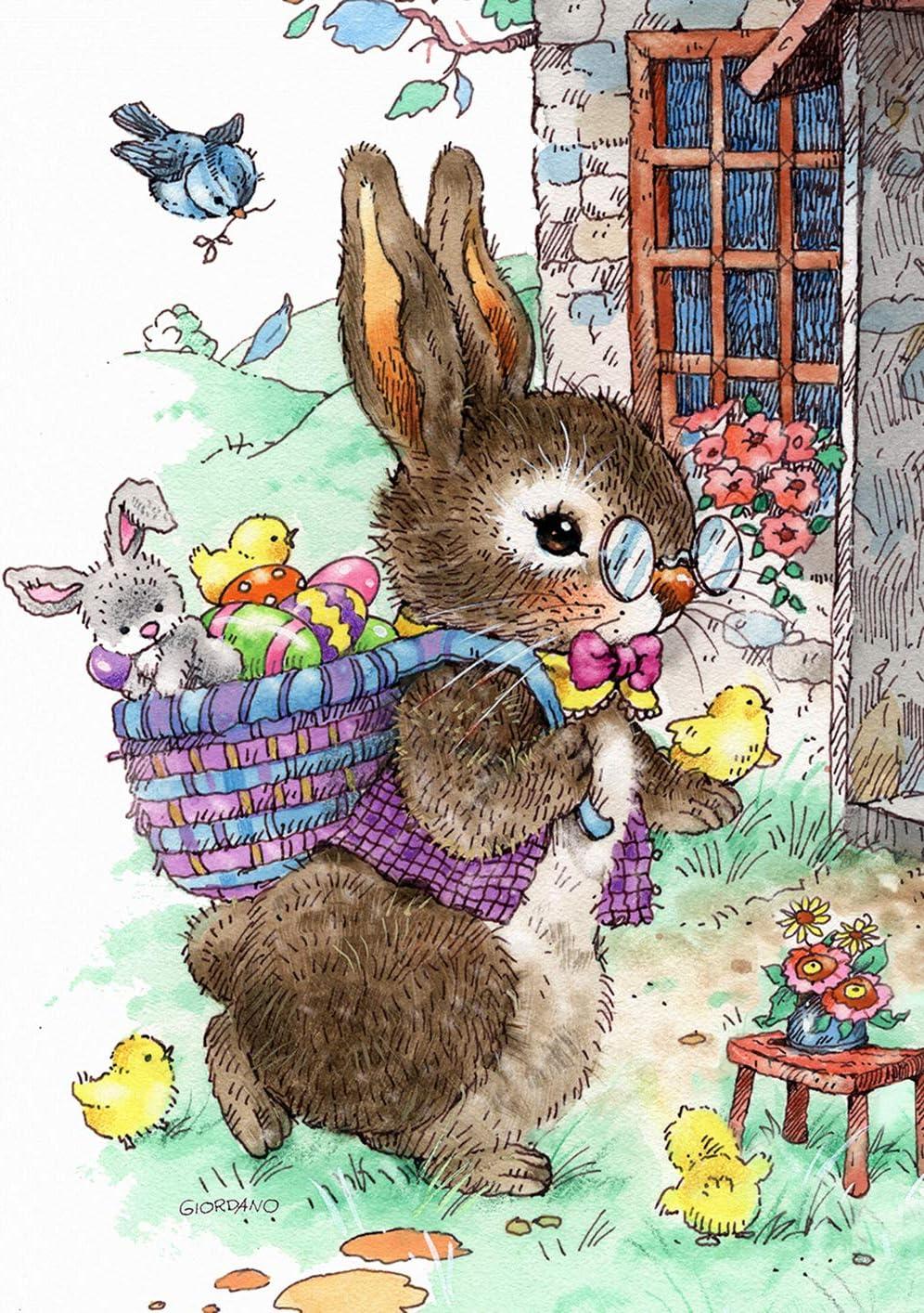 """Toland Home Garden 1112287 Vintage Easter Bunny 12.5 x 18 Inch Decorative, Garden Flag (12.5"""" x 18"""")"""