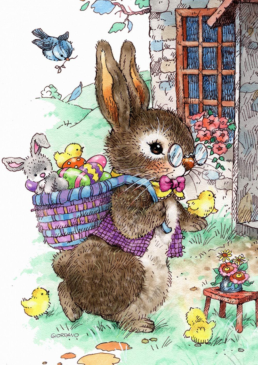 Toland Home Garden 1012287 Vintage Easter Bunny 28 x 40 Inch Decorative, Spring Egg Basket House Flag