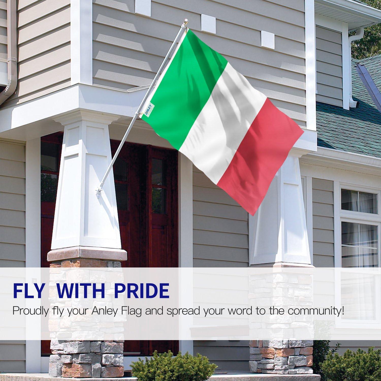 Anley Fly Breeze Bandera de Italia de 3x5 pies - Color Vivo y Resistente a la decoloración UV - Cabecera de Lona y Doble Costura - Banderas Italianas Poliéster con Ojales de