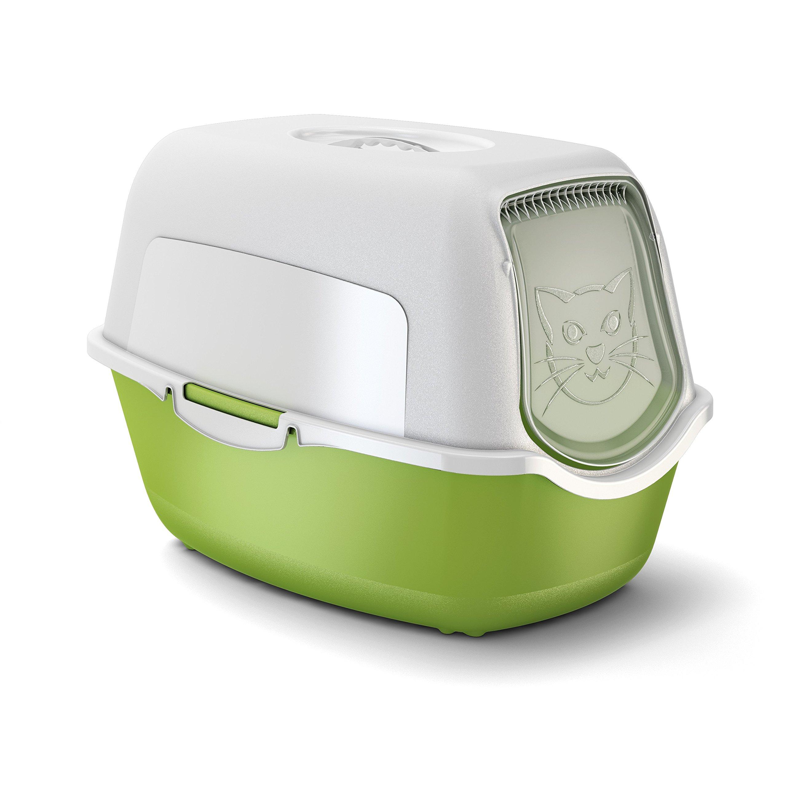 Maison de toilette pour chat verte/ blanche