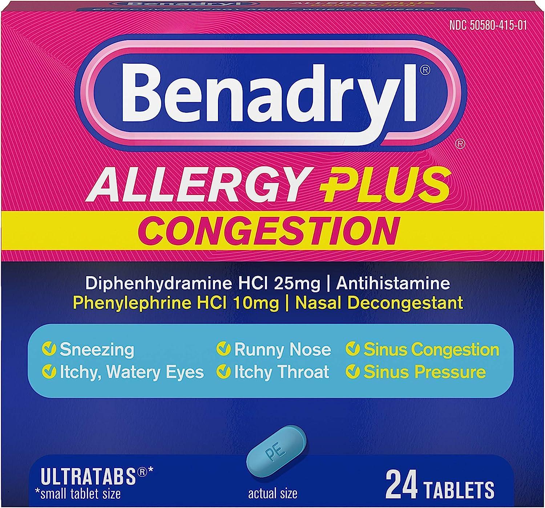 Benadryl Allergy Plus Congestion Ultratabs, Allergy & Congestion Relief Medicine, 24 ct: Health & Personal Care