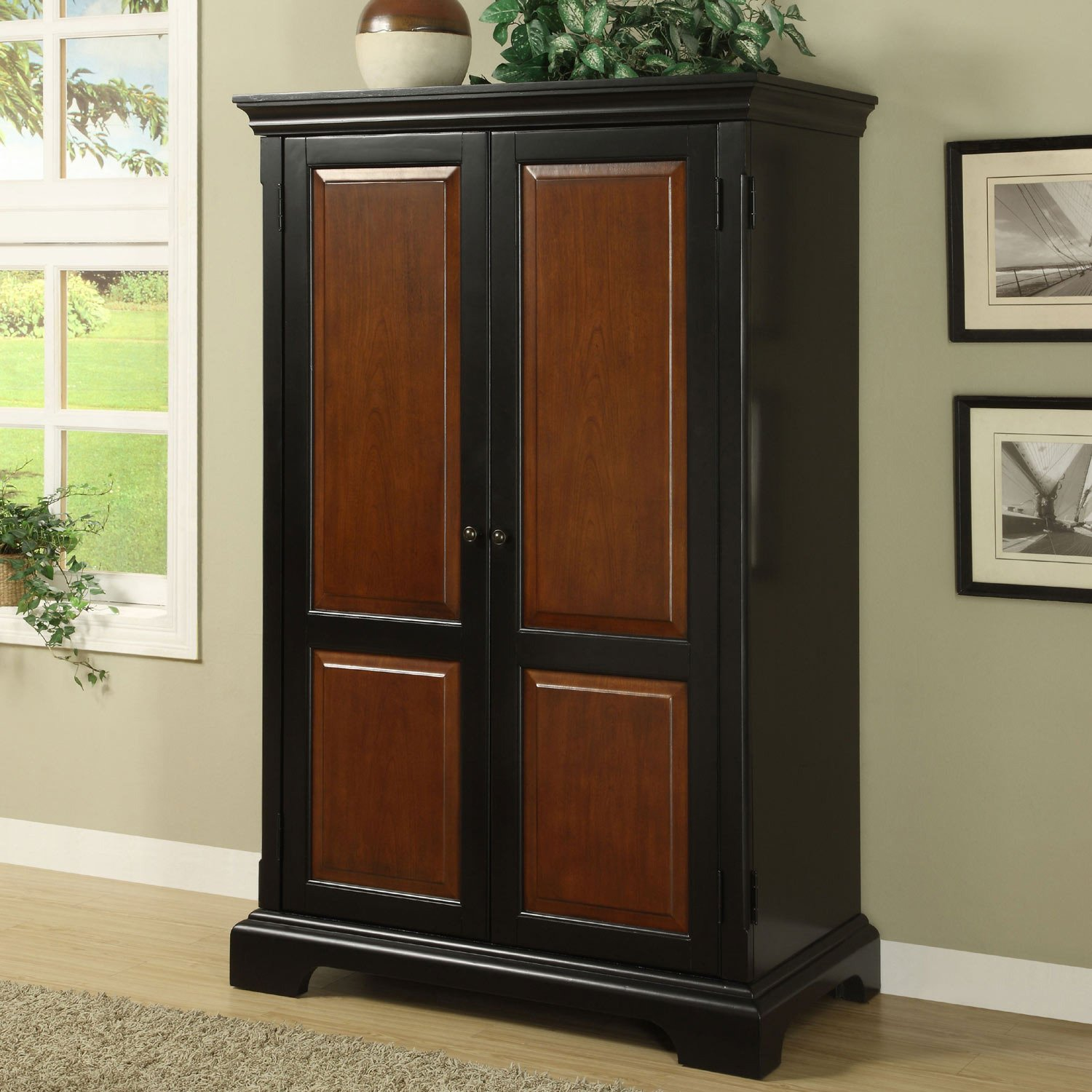 Amazon.com: Riverside Furniture Bridgeport Computer Armoire In Antique  Black: Kitchen U0026 Dining