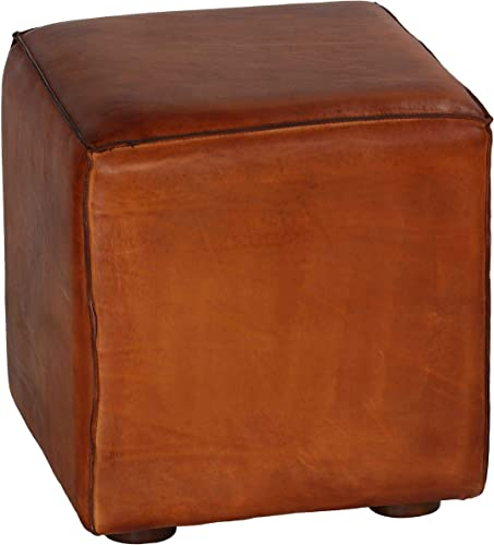 Bare Decor Sands Leather Cube Ottoman