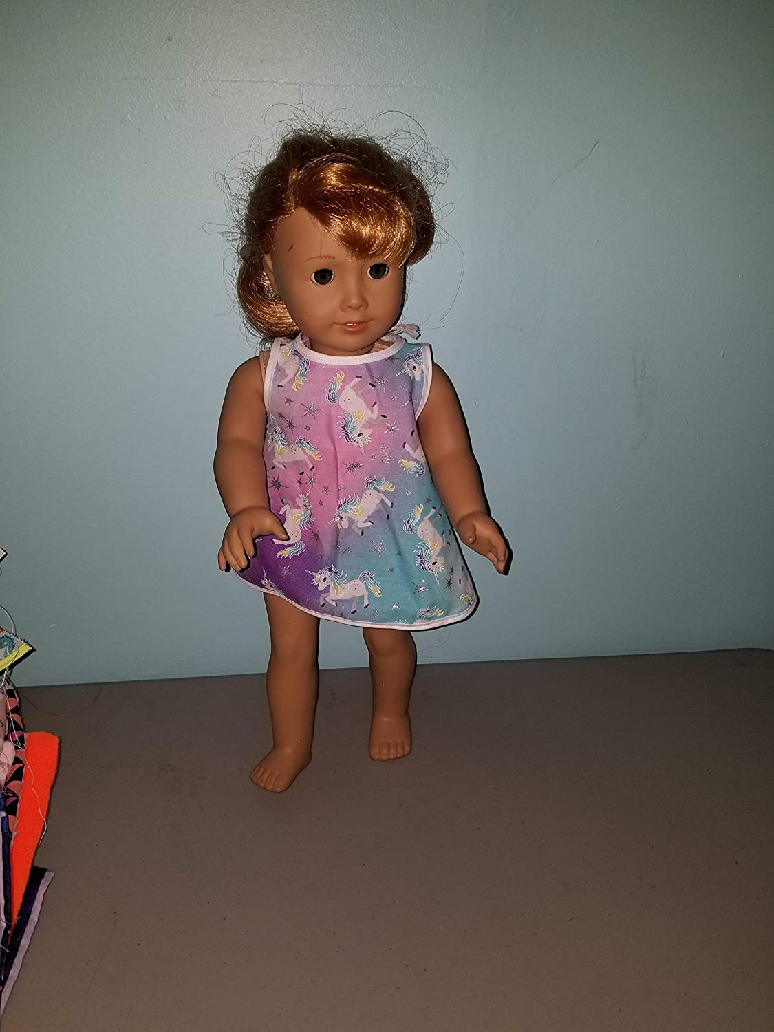 18 Doll Colorful Unicorn Dress Retro fits American girl our generation my life