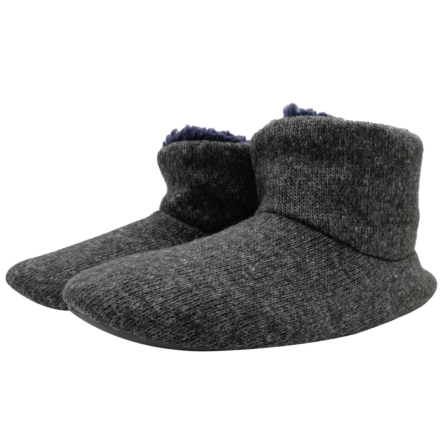 SunbowStar Men's Faux Fur Lined Knit Anti-Slip Indoor Slippers Boots House Slipper Bootie,Black Grey-11 D(M) US