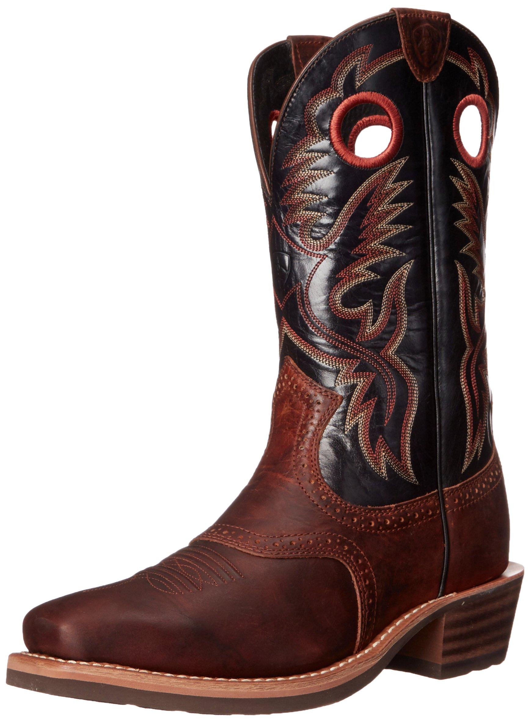 Ariat Men's Heritage Roughstock Western Cowboy Boot, Bar Top Brown/Shiny Black, 10.5 2E US