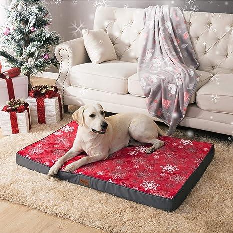 Bedsure Cama Perro Navidad Grande Ortopédica - Colchón Perro Lavable Invierno L(91x68x7.6cm) Desenfundable - con Espuma Roja de Caja de Huevos