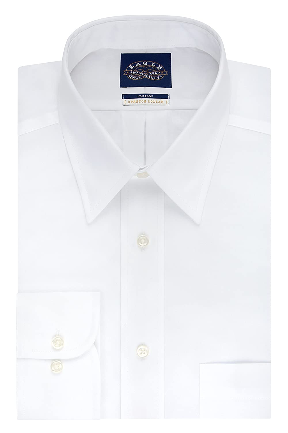Eagle Mens BIG FIT Dress Shirts Non Iron Stretch Collar Solid Big and Tall