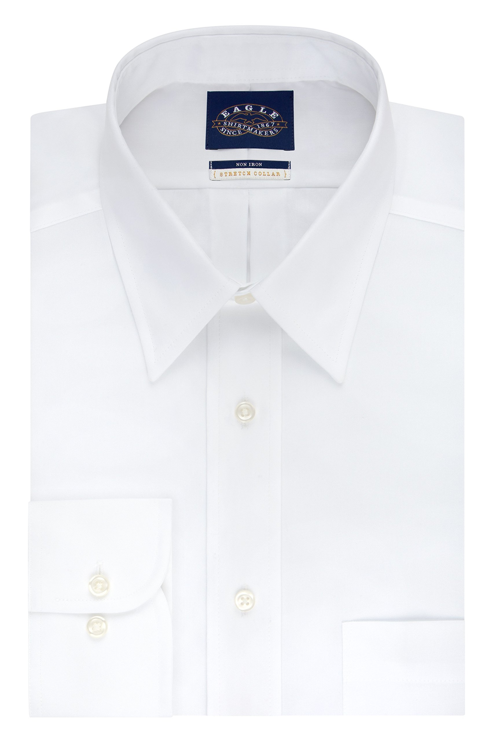 Eagle Men's Tall Size Non Iron Stretch Collar Solid Point Collar Dress Shirt, White, 22'' Neck 37''-38'' Sleeve
