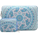 MOSISO Laptop Sleeve Bag Compatible 13-13.3 Inch MacBook Pro/MacBook Air/Notebook Computer with Small Case, Canvas Fabric Mandala Pattern Protective Carrring Cover, Mint Green and Blue