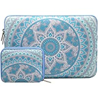 Mosiso Laptop Sleeve Bag for 13-13.3 Inch MacBook Pro, MacBook Air, Notebook Computer with Small Case, Canvas Fabric Mandala Pattern Protective Cover, Mint Green and Blue
