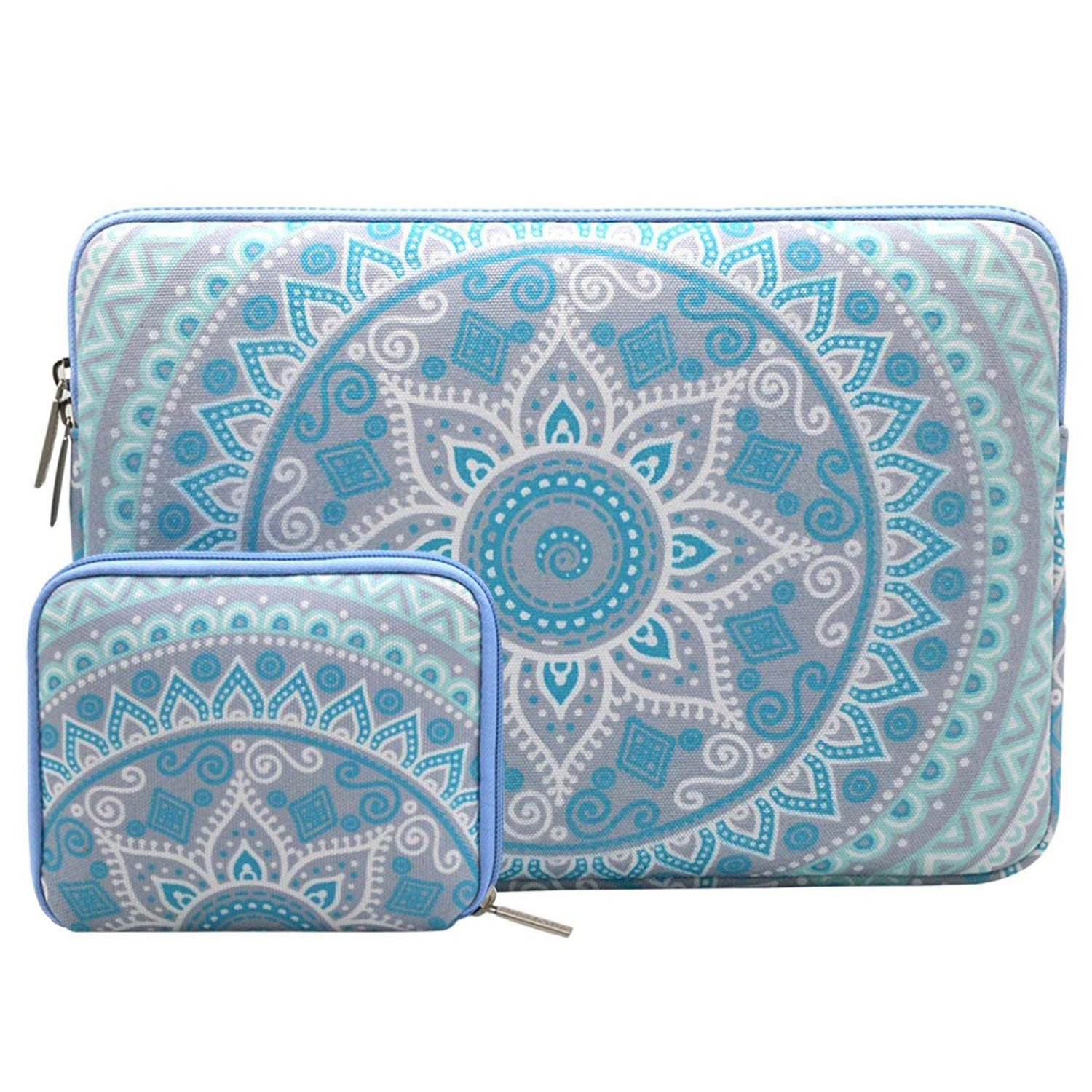 MOSISO Laptop Sleeve Bag Compatible 13-13.3 Inch MacBook Pro, MacBook Air, Notebook Computer with Small Case, Canvas Fabric Mandala Pattern Protective Cover, Mint Green and Blue
