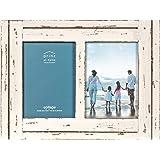 PRINZ Homestead Moldura para fotos colagem de madeira envelhecida de 12,7 cm x 17,8 cm para duas fotos, branca