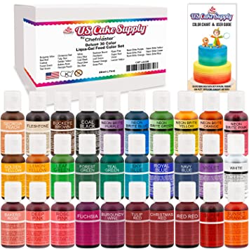 Amazon.com : 30 Color Cake Food Coloring Liqua-Gel Decorating ...