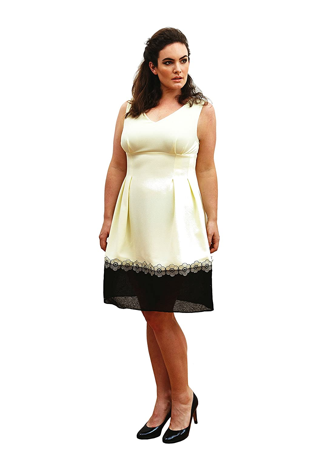Plus size cocktail dress ?Amber? (Sizes 16-26). Yellow Midi Contrast Organdy Hem Band Dress. Made in the UK by Dea London - UK's manufacturer of Designer plus size dresses.