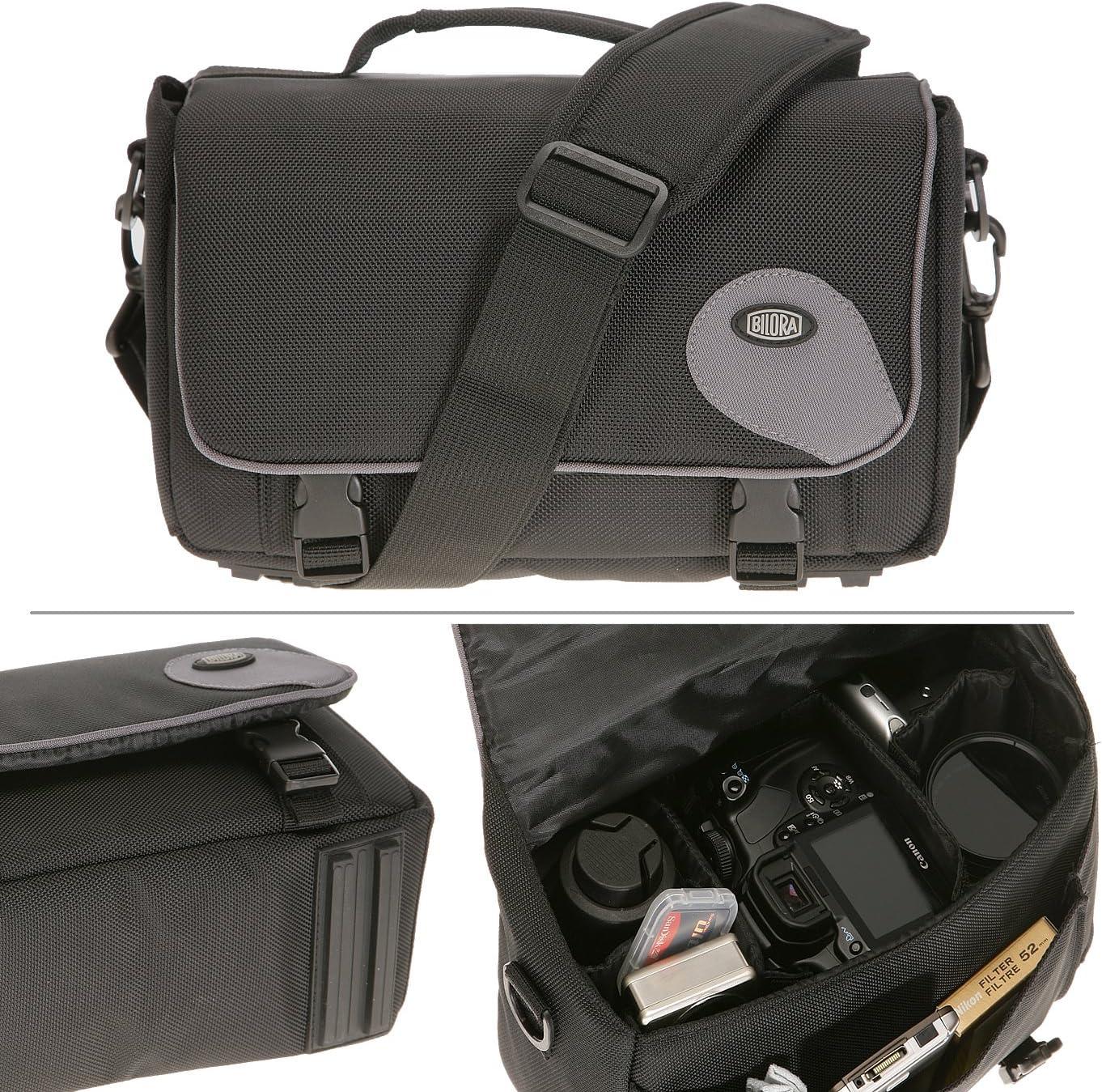 Bilora 287-90 - Bolsa bandolera para cámara réflex, negro: Amazon ...
