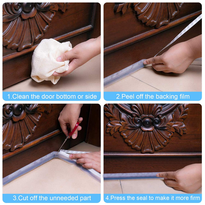 Weather Stripping Door Window Seal-Door Strip Bottom Draft Stopper 16.5 Foot 2 Pack Silicone Seal Strip 25MM, Transparent