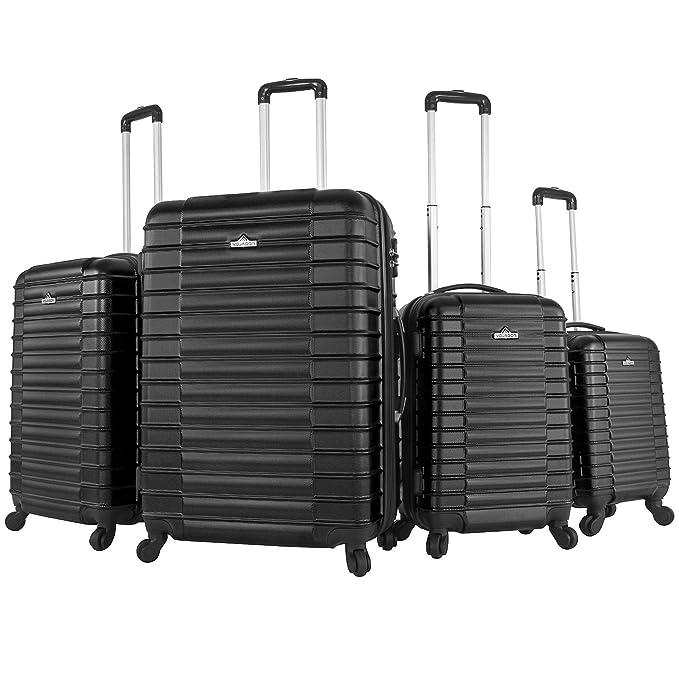 150 opinioni per Vojagor Trolley valigia set valigie rigide bagagli da 4 pezzi colore nero