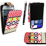 STYLEYOURMOBILE SAMSUNG GALAXY FAME S6810 PREMIUM QUALITY PU LEATHER MAGNETIC FLIP CASE SKIN COVER POUCH + SCREEN PROTECTOR +STYLUS (Aztec Dark Tribal Retro Vintage)