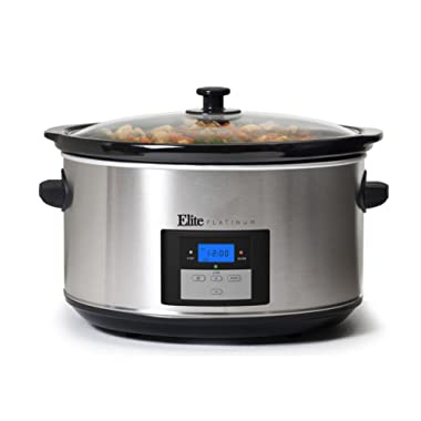 Elite Platinum MST-900D Maxi-Matic 8.5 Quart Digital Programmable Slow Cooker with Timer, Stainless Steel
