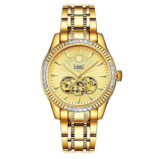 BINLUN Relojes esqueléticos automáticos chapados en Oro 18K para Hombres Relojes Luminosos Impermeables para Hombres Diamantes: Amazon.es: Relojes