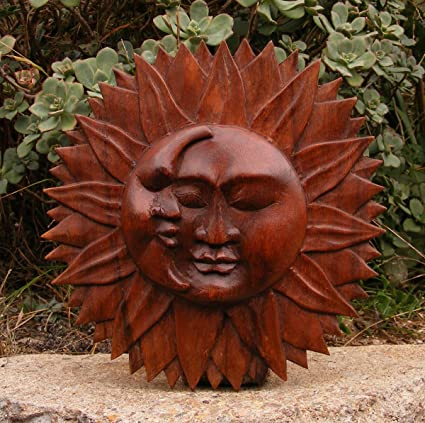 Bali Sun And Moon Wood Wall Plaque Celestial Art Carving 9 1 2