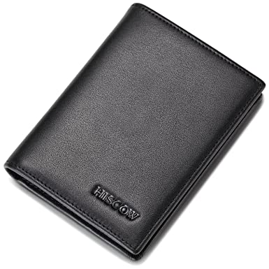 hiscow bifold card holder with 20 clear business card sleeves italian calfskin - Business Card Sleeves