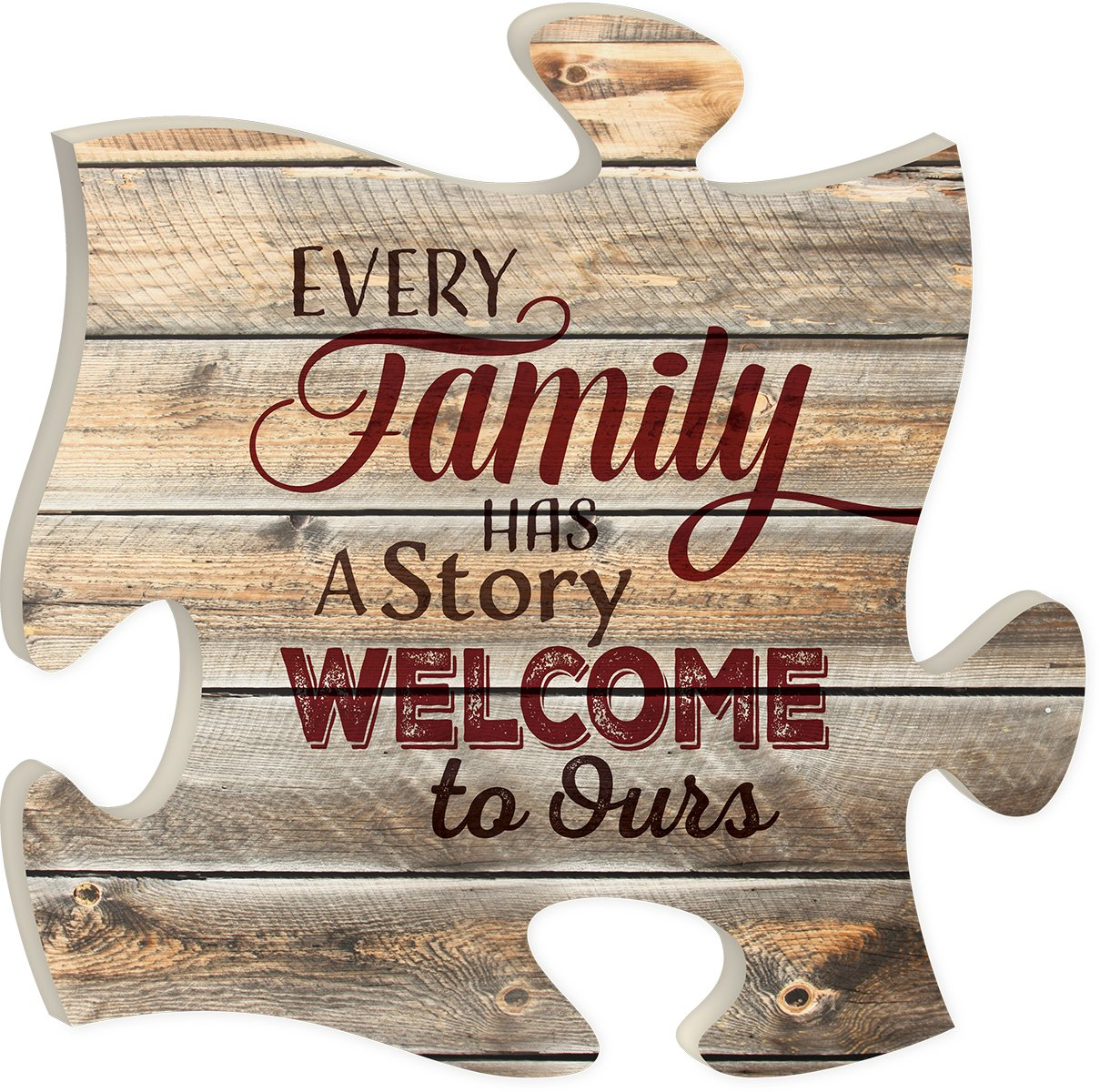Every Family Has a Story 12 x 12 inch Wood Puzzle Piece Wall Sign Plaque P. Graham Dunn PUF0220