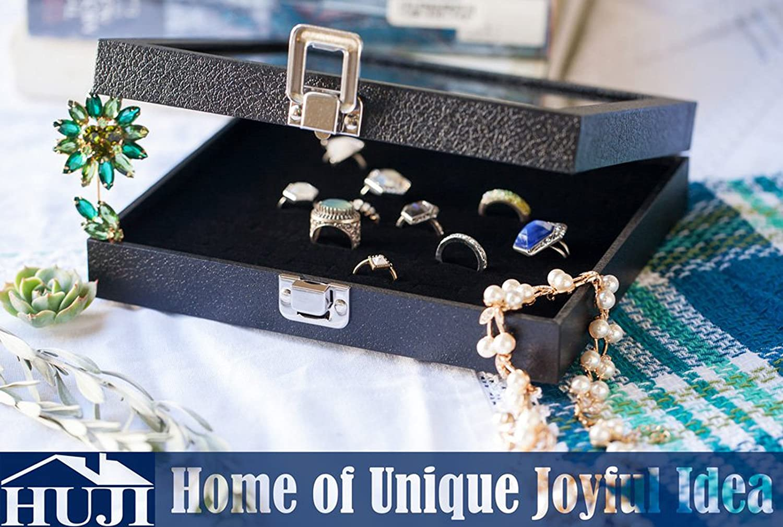 1X Glass Lid Black 100 Slot Earring Ring Jewellery Display Storage Box Tra C2T0