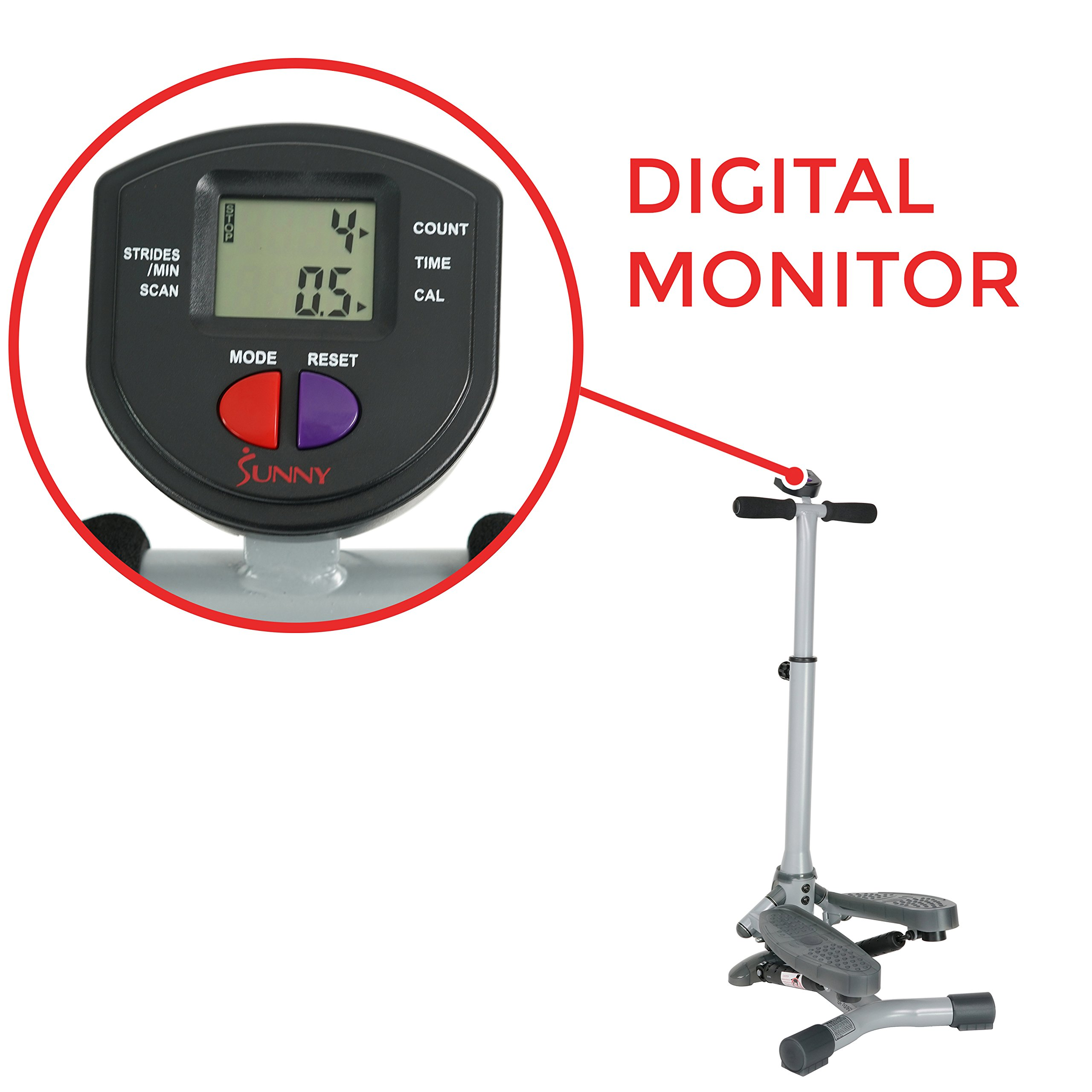 Sunny Health & Fitness SF-S0637 Twist-In Stepper Step Machine w/ Handlebar and LCD Monitor by Sunny Health & Fitness (Image #6)