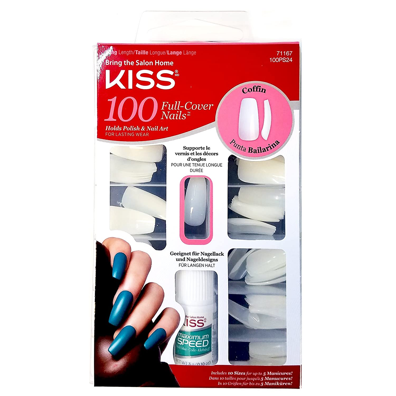 Kiss Ballerina Coffin 100 Tips #71167 100PS24 Long Length Nails Ivy Enterprises Inc.
