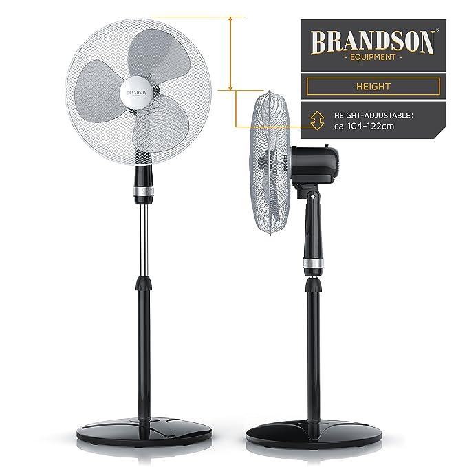 Brandson - Ventilador de pie 40 cm | 3 Niveles de Potencia | Oscilación 85° | Potencia 50 W | Flujo de Aire Elevado | Modell 2018 | Negro/Plata: Amazon.es: ...