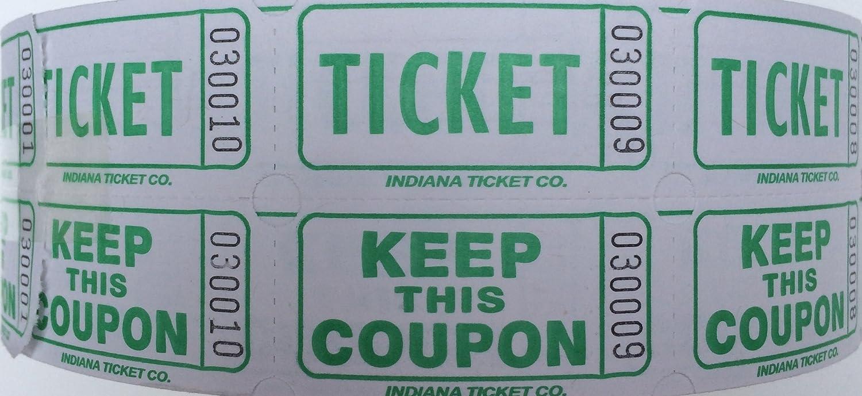 Raffle Tickets 2000 per Roll 50//50 Green