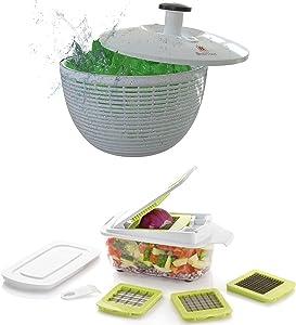 Brieftons Salad Spinner (6.2-Quart) & Brieftons QuickPush Food Chopper