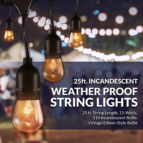 Newhouse Lighting Outdoor String Lights with Hanging Sockets Weatherproof Technology Incandescent Heavy Duty 25-foot Cord 10 Lights Bulbs Included 2 Free Replacement